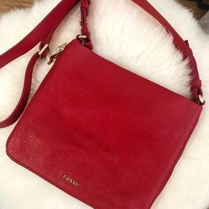 Fossil Red Leather cross-body